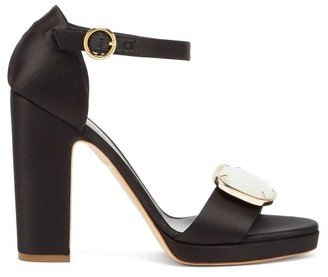 Rupert Sanderson Soraya Pebble-plaque Block-heel Satin Sandals - Womens - Black