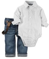 Carter's 3-Piece Bodysuit, Suspender, and Pant Set in Ivory