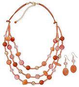 JCPenney Orange 3-Strand Necklace & Drop Earrings Set