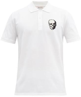 Alexander McQueen Skull-applique Cotton-pique Polo Shirt - White