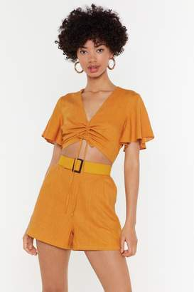 Nasty Gal Womens No Cut-Out In My Mind Linen Playsuit - Yellow - S, Yellow