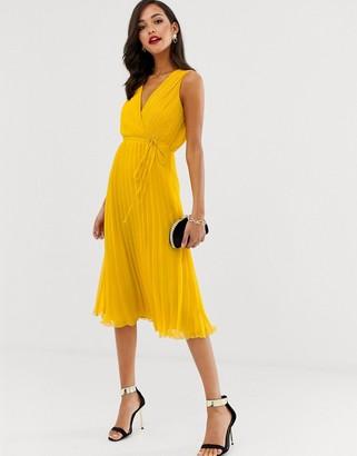 Asos Design DESIGN wrap bodice midi dress with tie waist and pleat skirt-Yellow