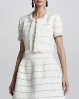 Oscar de la Renta Cropped Fringe Tweed Jacket, Ivory