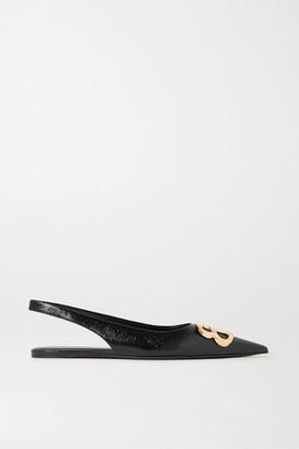 Balenciaga Knife Logo-embellished Coated-denim Slingback Point-toe Flats - Black