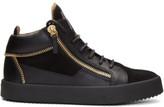 Giuseppe Zanotti Black Suede May London Zip High-top Sneakers