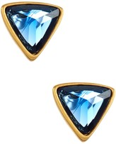 Rivka Friedman 18K Gold Clad Faceted Poppy Blue Crystal Trillion Stud Earrings