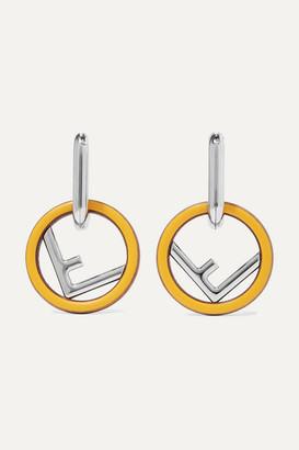 Fendi Silver-tone, Wood And Enamel Earrings - one size