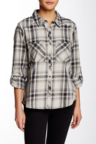 Michael Stars Plaid Tab Roll Blouse