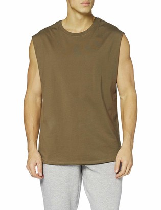 Urban Classics Men's Sleeveless T-Shirt Workout Vest with Round Neckline and Rolled Hems Loose Tank Top 100% Jersey Cotton