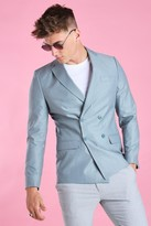 boohoo Mens Blue Skinny Plain Double Breasted Suit Jacket, Blue