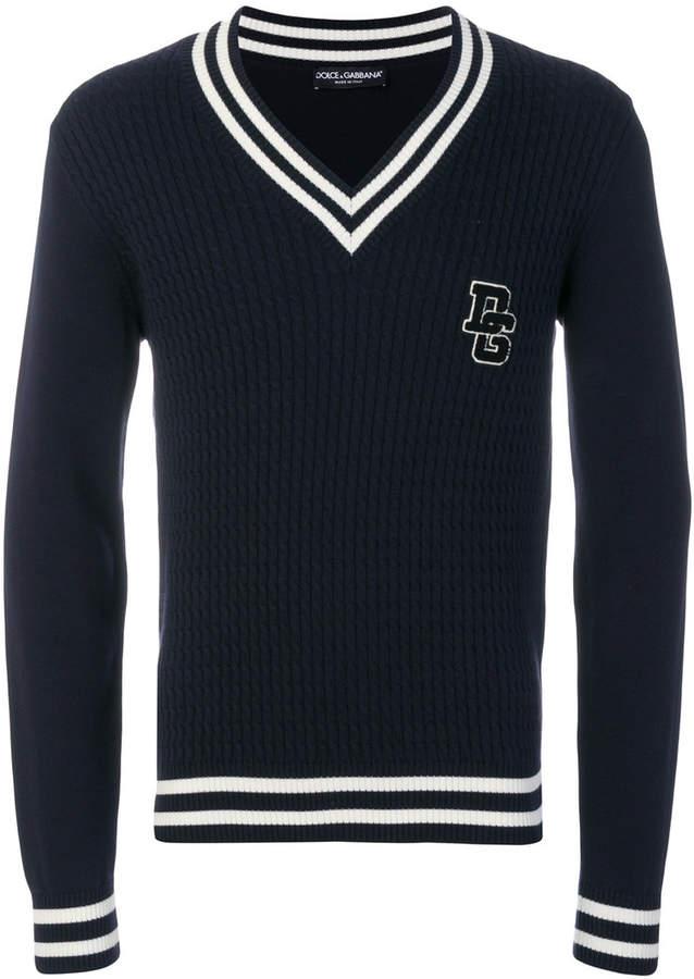 Dolce & Gabbana v-neck cable knit sweater
