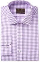 Tasso Elba Men's Classic/Regular Fit Non-Iron Lavender Herringbone Gingham Dress Shirt, Only at Macy's