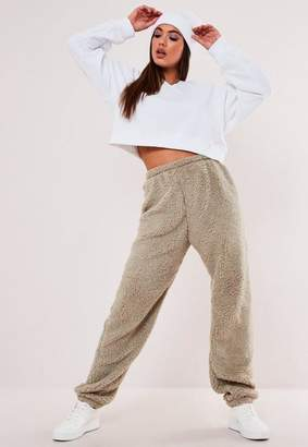 Missguided Tall Stone Borg Teddy 90'S Joggers