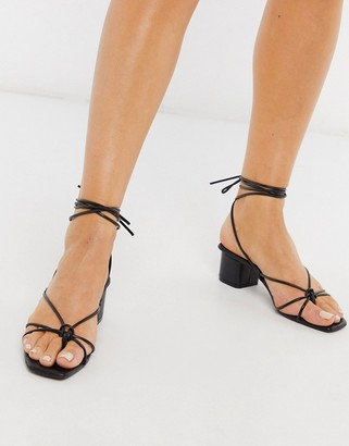Depp super strappy sandals with square toe in black leather