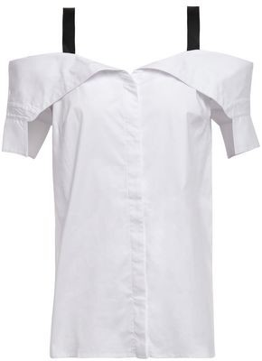 Bailey 44 Cold-shoulder Cotton-blend Poplin Shirt