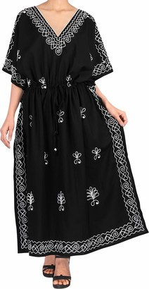 LA LEELA Women Long Kaftan Rayon Solid Tunic Caftans Plus Size Maxi Dress Embroidered Ladies Dressing Gown Halloween Black_T815 [OSFM] UK: 16 (L) - 22 (XL)