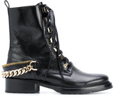 Lanvin chain-embellished combat boots - women - Leather/rubber - 37