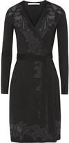 Diane von Furstenberg Leandra lace-paneled wool-blend jersey wrap dress