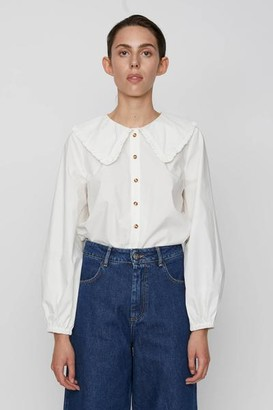 Just Female Ease Off White Frill Shirt - M