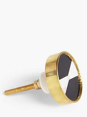 John Lewis & Partners Brass and Resin Cupboard Knob, Black/White