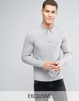 Tommy Hilfiger Long Sleeve Polo Pique Slim Fit Flag Logo In Grey Heather Exclusive To Asos