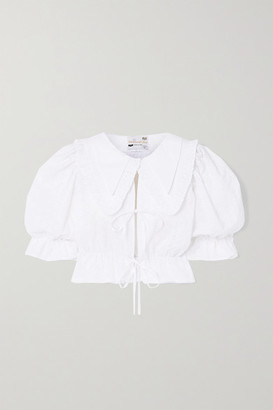 MAISONCLÉO Angele Tie-front Broderie Anglaise Cotton Blouse - White