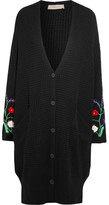 Preen Line Ada Oversized Embroidered Cotton-blend Cardigan - Black