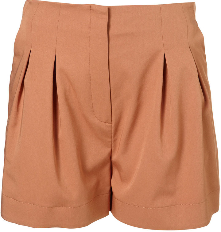 Topshop Peach Co-ordinating Pleated Shorts