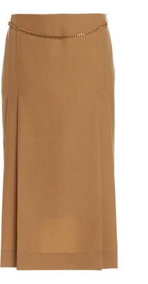 Victoria Beckham Chain Detailed Wool Midi Skirt