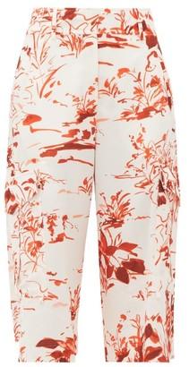 Sies Marjan Sidney Watercolour-print Crepe Shorts - Womens - Orange Print