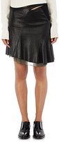Paco Rabanne WOMEN'S ASYMMETRIC LEATHER MINISKIRT-BLACK SIZE 40 FR