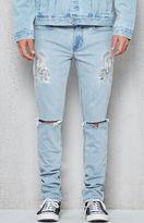 PacSun Skinny Destroyed Dragon Light Indigo Stretch Jeans