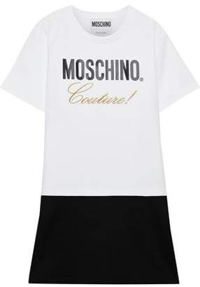 Moschino Printed Embroidered French Cotton-terry Mini Dress