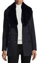 Burberry Marfield Wool-Blend Coat w/Detachable Fur Collar, Black