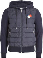 Moncler Down-Filled Jacket with Cotton Sleeves and Hood