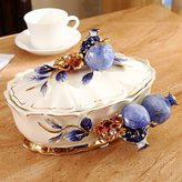 WQWQ-The Dry Fruit Of European Style Snack Tray With Cover Ceramic Creative Household Living Room Dried Fruit Plate Box Of Candy Box
