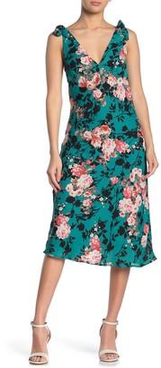 Emory Park Shoulder Tie Printed Midi Dress