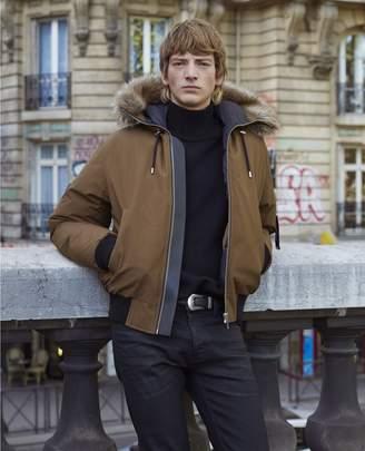 The Kooples Short nylon camel down jacket with hood