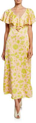 Kate Spade Splash Floral V-Neck Cross-Back Short-Sleeve Satin Midi Dress