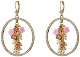 Betsey Johnson Pink Multi Flower Gypsy Hoop Earrings