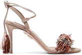 Aquazzura Wild Thing Fringed Suede Sandals - Beige
