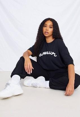 Missguided Plus Size Black Amour T Shirt