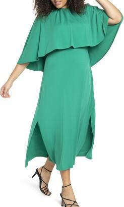 ELOQUII Cape Detail Side Slit Dress