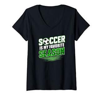 Womens Soccer Is My Favorite Season V-Neck T-Shirt
