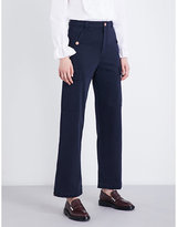See by Chloe Cropped high-rise gabardine trousers