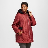 KC Collections Women's Plus Size Side Tab Quilted Puffer Coat