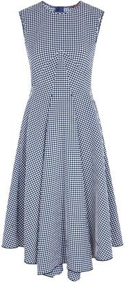 High Verity Checked Seersucker Midi Dress