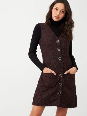 Warehouse Tweed Button Through Pinny Dress - Multi