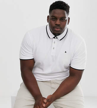 Jack and Jones Essentials logo polo in white
