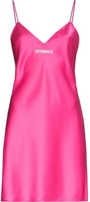 Vetements Logo-Print Mini Slip Dress